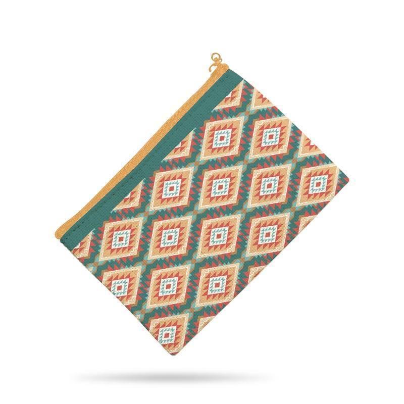 Kit pochette beige motif boho indien