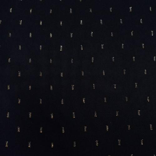 Tissu rayonne noir brodé doré