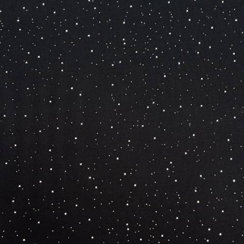 Tissu viscose noir pois argenté