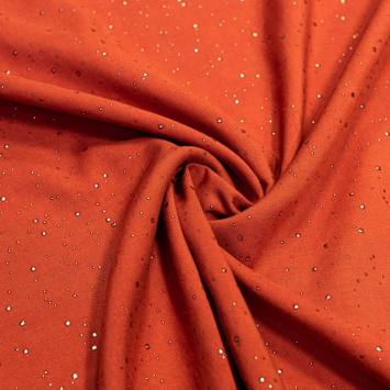 Tissu viscose orange brûlée pois argenté