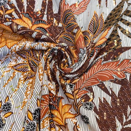 Crêpe georgette marron motif fleur et dorures