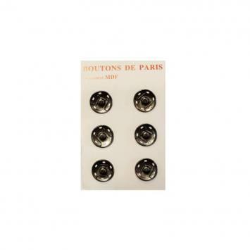 Boutons pression 20 mm noirs métallisés X6
