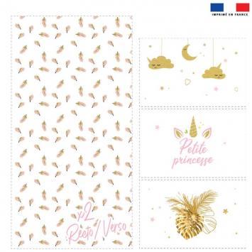 Coupon velours d'habillement pour vide-poches motif licorne gold