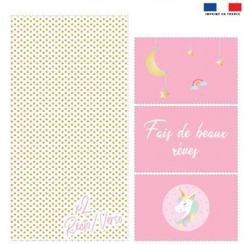 Coupon velours d'habillement pour vide-poches motif licorne rose