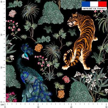 Tissu caban twill noir motif tiger asiatique