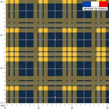 Tissu caban twill motif tartan bleu et jaune détail abeille