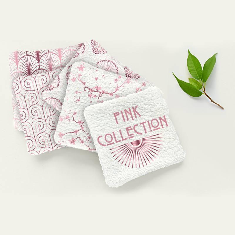 Coupon éponge pour lingettes démaquillantes motif art déco pink