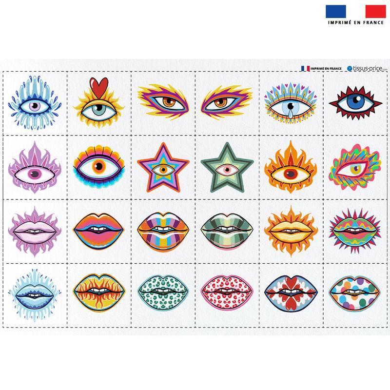 Coupon éponge pour lingettes démaquillantes motif oeils et bouches - Création Lou Picault