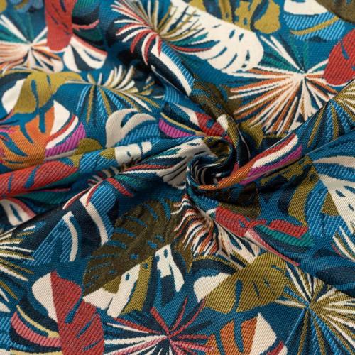 Jacquard bleu motif feuilles de monstera rouges Oeko-tex