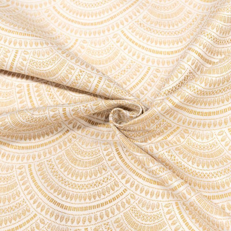 Coupon 50x73 cm - Jacquard écru motif éventail art déco doré