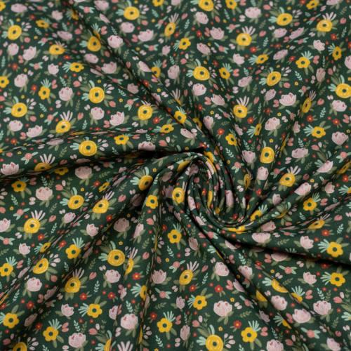 Coton bio vert foncé motif fleurs des près jaunes et roses Oeko-tex