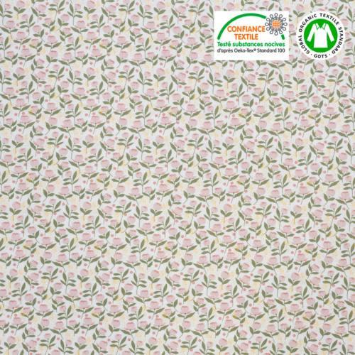 Coton bio imprimé petites pivoines roses Oeko-tex