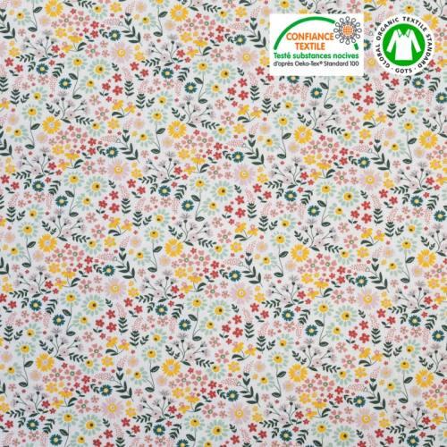 Coton bio imprimé petites fleurs des bois Oeko-tex
