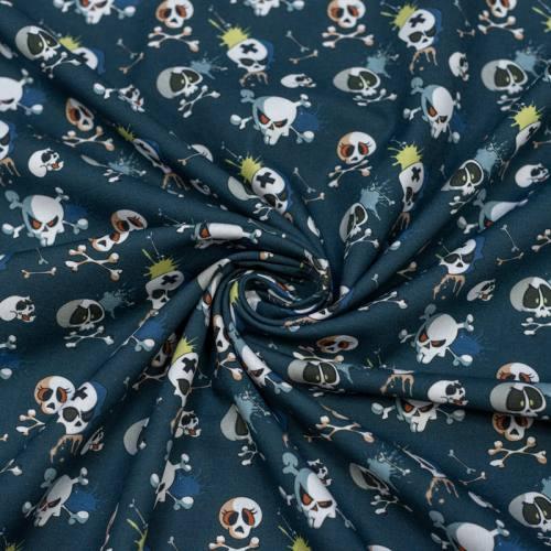 Coton bio bleu de prusse imprimé tête de mort Oeko-tex