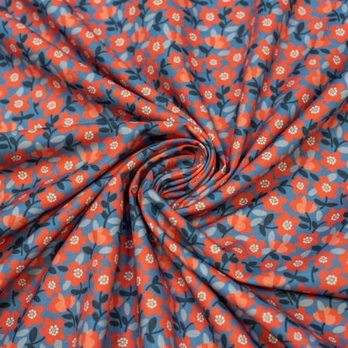 Coton bio bleu imprimé fleurs rouges Oeko-tex