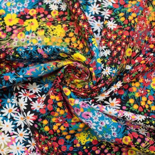Tissu viscose noire motif fleuri alicia Oeko-tex