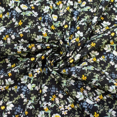 Tissu viscose noire motif fleurs blanches et jaunes anaïs Oeko-tex