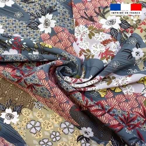 Tissu viscose gris motif inspiration japonaise ayo Oeko-tex