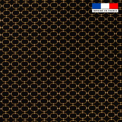 Tissu viscose noire motif cercle doré ines Oeko-tex