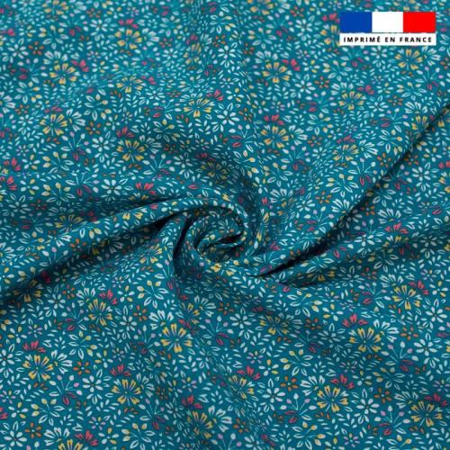 Tissu viscose bleu turquoise motif petites fleurs irène Oeko-tex