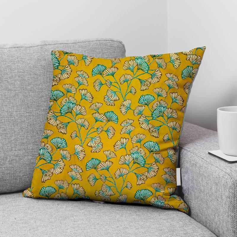 Coupon 50x68 cm - Jacquard ocre motif fleur en éventail ginkgo bleu Oeko-tex