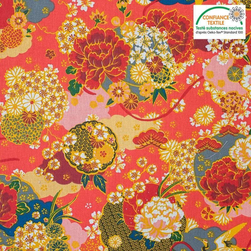 Coton rouge motif fleur ikebana japonaise ocre Oeko-tex