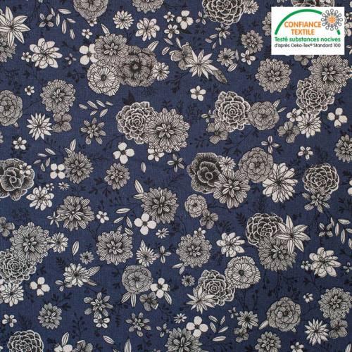Coton bleu marine motif floral noir Oeko-tex