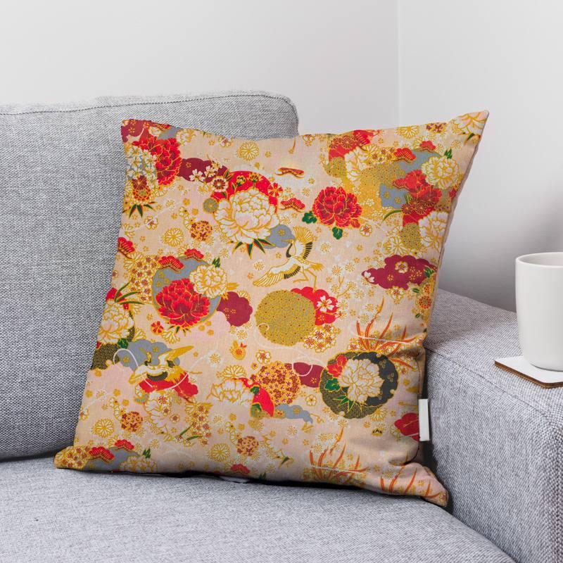 Coton beige motif fleur ikebana japonaise ocre Oeko-tex