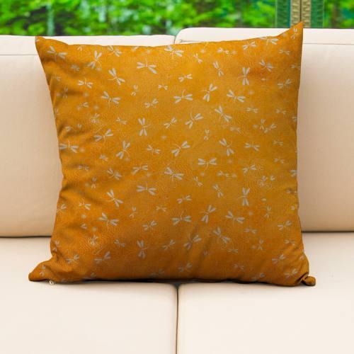 Coton enduit ocre motif libellule blanche Oeko-tex
