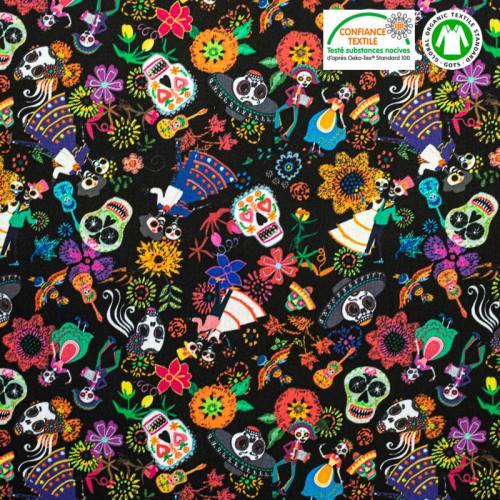 Coton bio noir motif tête de mort mexicaine iguala Oeko-tex