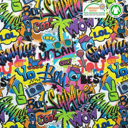 Coton bio jaune motif tag graffiti jakrot Oeko-tex