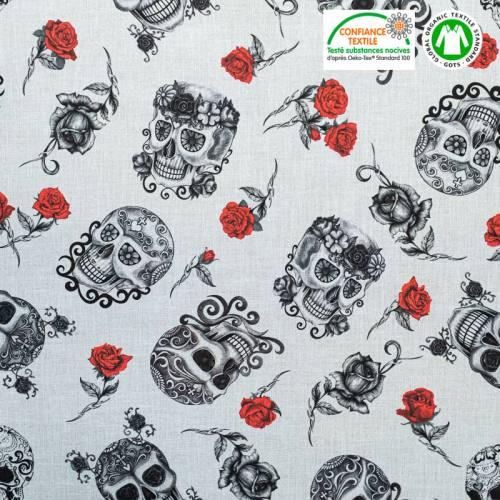 Coton bio gris clair motif crâne et rose rouge tatu Oeko-tex