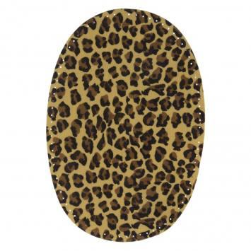 Coudes thermocollants imitation daim crème motif léopard X2