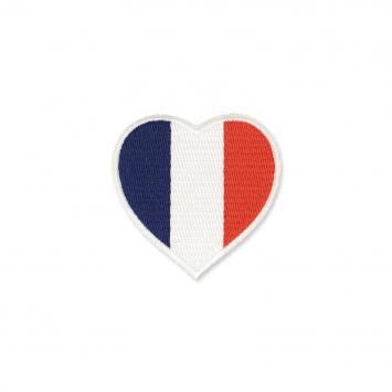 Ecusson brodé thermocollant coeur tricolore français