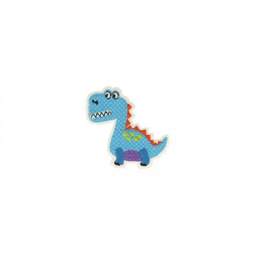 Ecusson brodé thermocollant dinosaure bleu