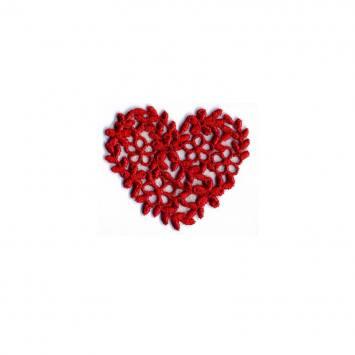 Écusson coeur broderie rouge