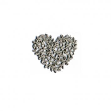 Écusson coeur broderie gris