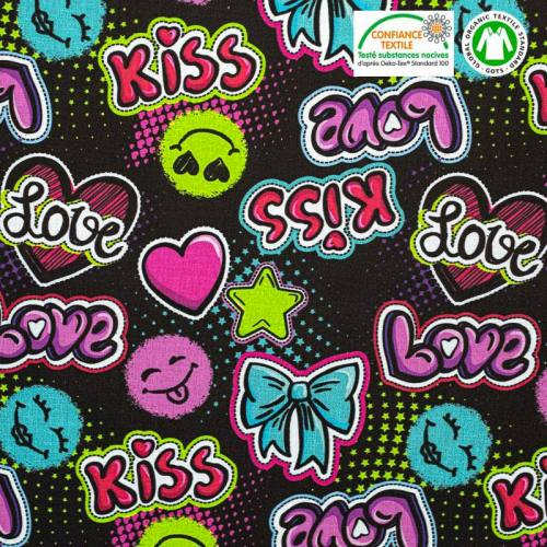 Coton bio noir motif love kiss kumno Oeko-tex