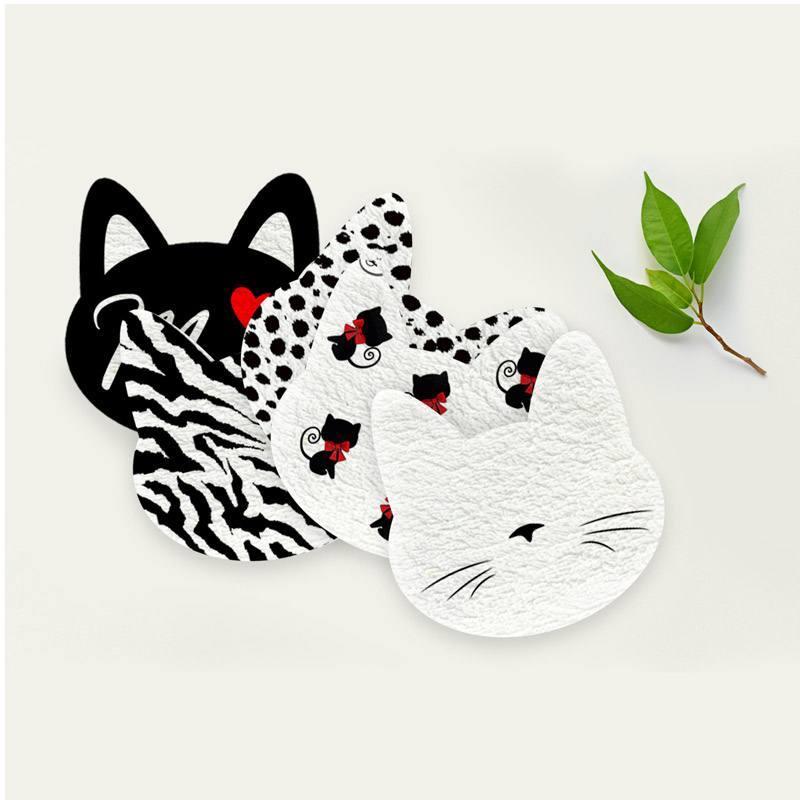 Coupon éponge pour lingettes démaquillantes forme chat motif meow love
