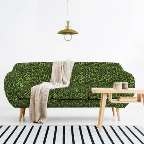 Imitation fourrure léopard - Fond vert effet fluo