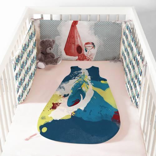 Coupon velours d'habillement pour tour de lit motif plume indienne - Création Marie-Eva