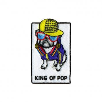 Ecusson brodé chien king of pop