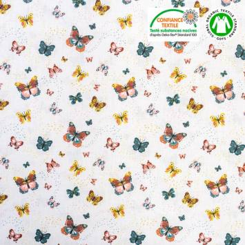 Coton bio blanc motif papillon Oeko-tex