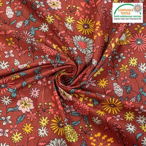 Coton rouge brique motif fleuri valentine Oeko-tex