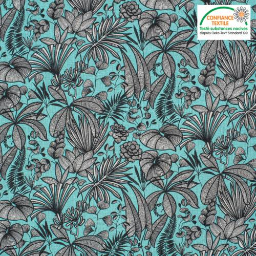 Coton bleu turquoise motif feuilles java Oeko-tex