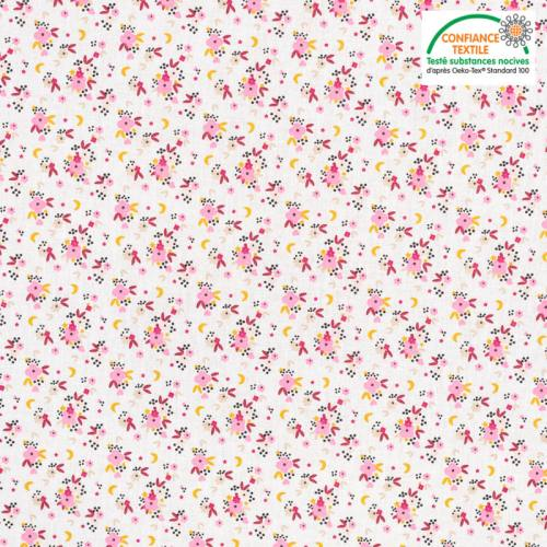 Coton blanc motif fleur rose et lune fledi Oeko-tex