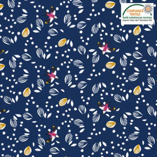 Coton bleu foncé motif hirondelle jolhiro Oeko-tex