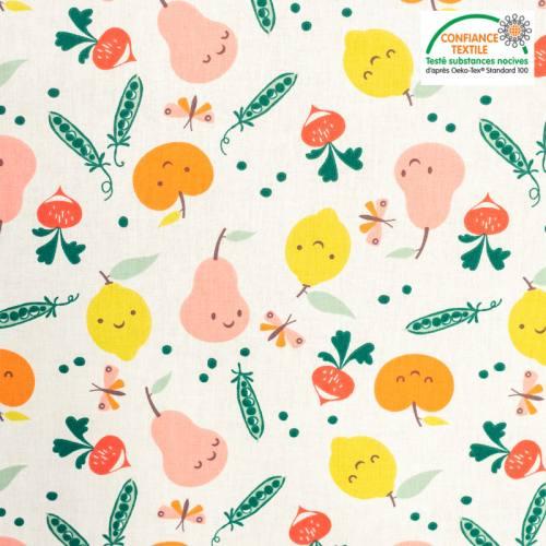 Coton écru motif veggy coloré Oeko-tex
