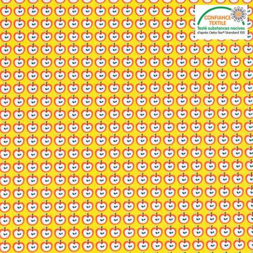 Coton jaune motif pomme rouge Oeko-tex