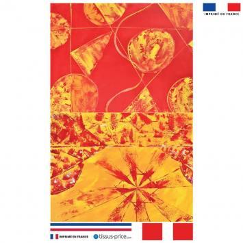 Kit pochette orange motif formes abstraites jaunes effet peinture - Création Anne Gillard